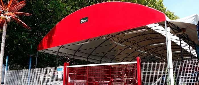 tettoia ad arco copertura in telo PVC