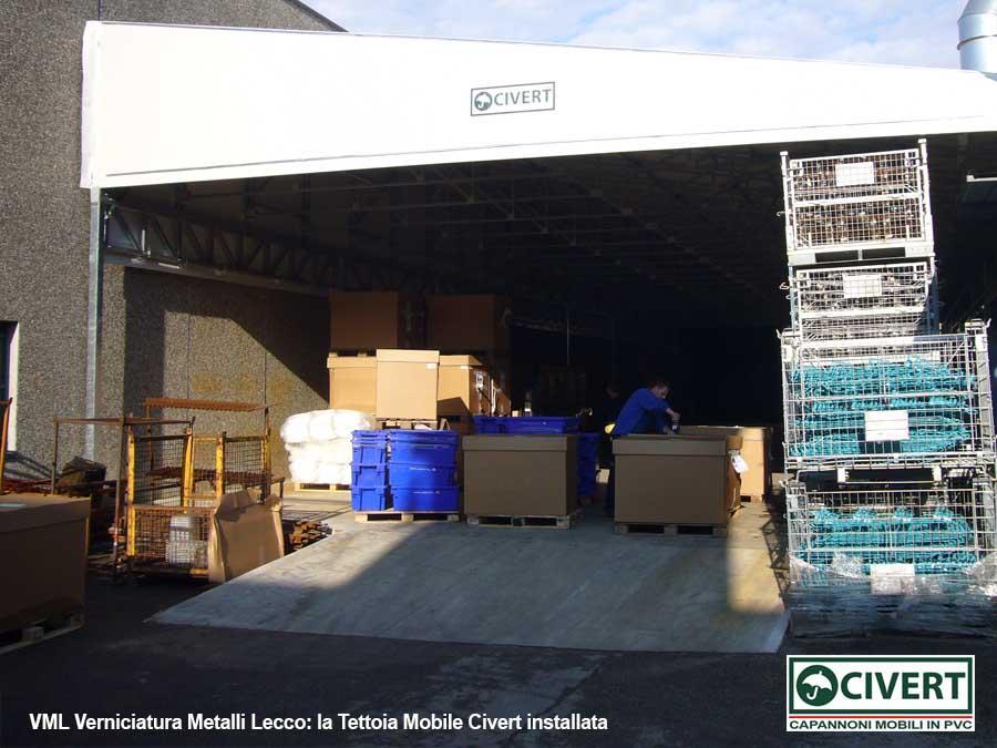 VML -la lla tettoia mobile Civert installata