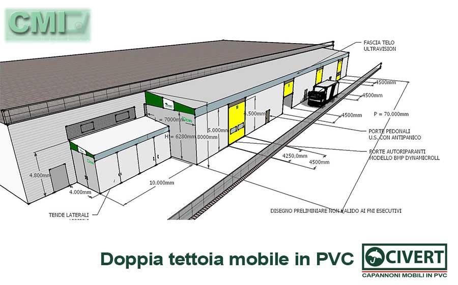 Doppia tettoia mobile Civert con Ultravision per CMI - disegno
