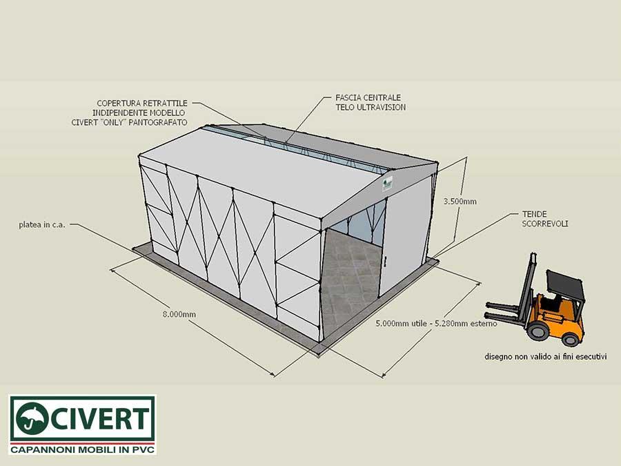 Tunnel Retrattile in PVC realizzato per Elettromeccanica Marchegiani - disegno