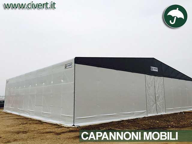 Capannone mobile indipendente Civert come prolungamento della copertura di De Chirico