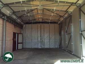 interno capannoni mobili industriali in PVC