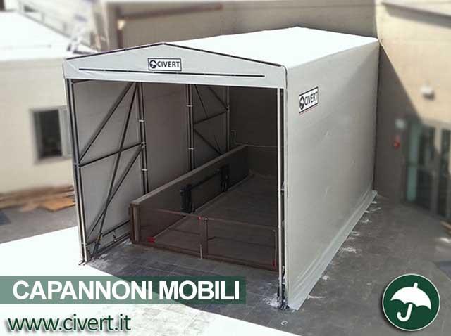Capannone mobile come copertura per montacarichi Civert