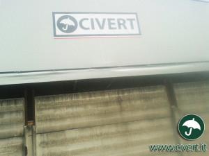 coperture mobili: particolare con logo Civert