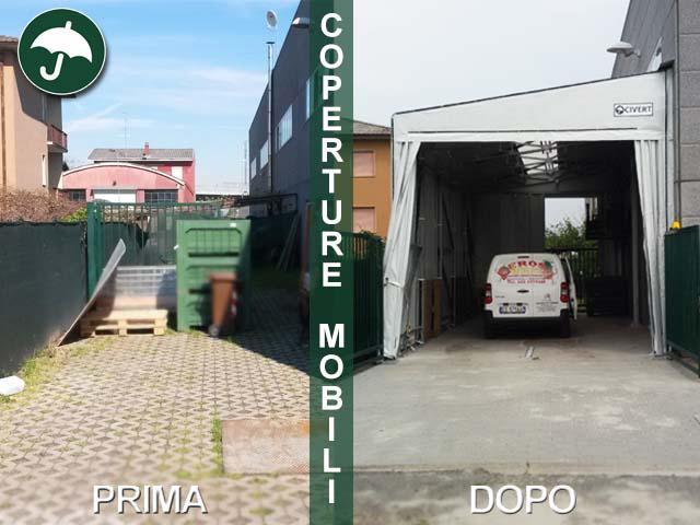 Rappresentazione di prima e dopo di uno spazio occupato da una copertura mobile laterale