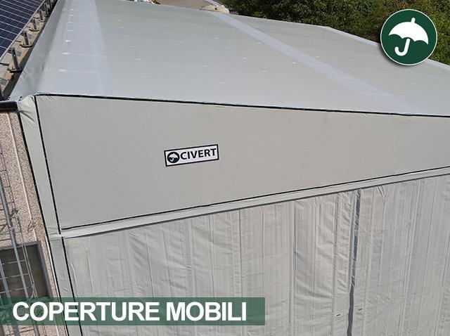 Copertura mobile tettoia monoside Civert