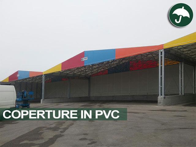 Tre capannoni in pvc laterali modello Biside affiancati Civert
