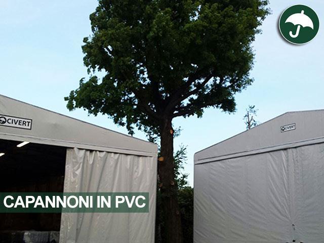Un capannone in pvc modello Monoside e un capannone indipendente in pvc modello Only Civert