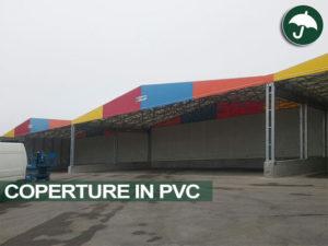 Capannoni mobili affiancati con copertura in PVC con frontalino pluricromatico