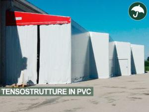 Quattro tensostrutture in pvc, tre coperture modello Monoside e una tettoia autoportante Biside Civert